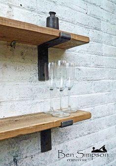 Rustic Shelves Shelf Industrial Metal by BenSimpsonFurniture