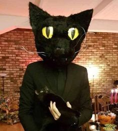 My buddy dressed up as his cat for Halloween, look at the cat's face. Funny Animal Memes, Funny Animal Pictures, Cute Pictures, Funny Animals, Cute Animals, Dankest Memes, Funny Memes, Pet Organization, Halloween 4