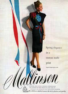 gorgeous flower and ribbon print dress from Mallinson, 1946