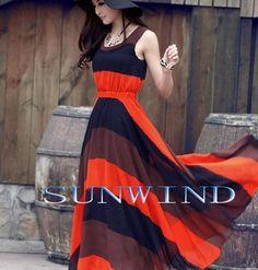 Orange Blue Boho Bohemian Chiffon Stripes Summer Beach Long Maxi Dress €18,47