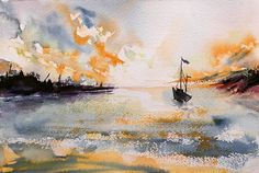 #sea #sunset #dramatic #newshores Sea, Sunset, Painting, Instagram, Painting Art, The Ocean, Paintings, Sunsets, Ocean
