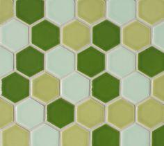 2 inch hexagons-Dill, Pear, Celadon