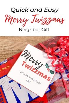 Quick and Easy Merry Twizzmas Christmas Neighbor Gift Neighbor Christmas Gifts, Neighbor Gifts, Christmas Crafts, Christmas Decorations, Candy Gifts, Merry, Gift Wrapping, Seasons, Gift Wrapping Paper