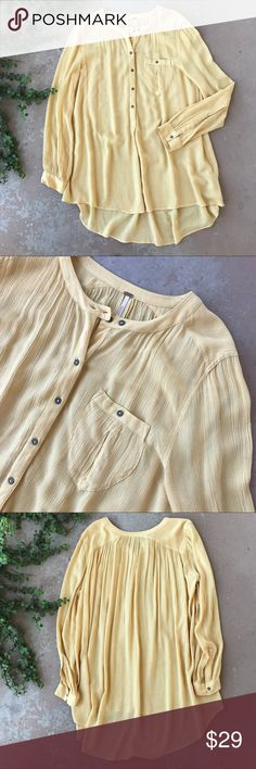 Free People Yellow Long Sleeve Tunic Lightweight yellow tunic with high low hem from Free People. Size medium and in excellent condition. 100% rayon. Free People Tops Button Down Shirts