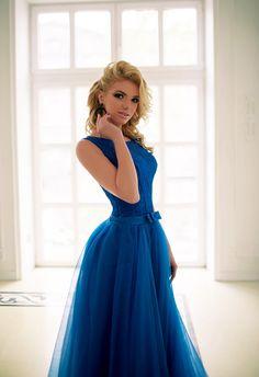 Купить синее длинное платье на корпоратив или выпускной Диана | Сал...