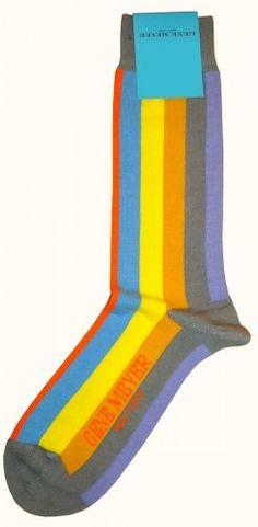 Socks For Men - Gene Meyer Block Stripe Socks in Yellow/Blue/Lilac@ KJ Beckett