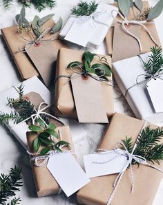 The natural sprigs, minimalist tags and striped baker's twine take this basic paper to the next level. Gift-wrapping inspiration? Check.