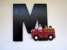 Wooden Wall Letters Fire Truck Custom Boutique Baby Boy Nursery Hanging Handpainted Wood Letters Any Decor. $16.00, via Etsy.