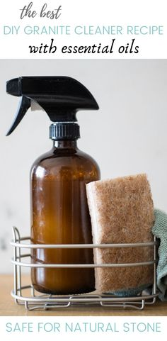Homemade granite cleaner recipe without vinegar. Made with all-natural ingredients to keep your granite countertops clean, shiny, and toxic free. #diycleaners