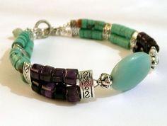 Genuine Turquoise & Amethyst Heishi Bead Antique by IslandGirl77, $35.99