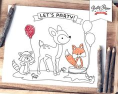 Woodland Coloring Page INSTANT DOWNLOAD Fox Birthday Party Activity Colouring Book Digital Printable BP01 Bp02 Bp03
