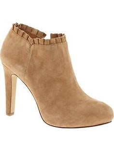 """overview  Soft suede upper with ruffle detail.  Breathable synthetic lining.  Exclusive Padding System features memory foam and a cushioned insole designed for all-day comfort.  Flexible synthetic outsole.  2 1/2"""" shaft. 4"""" heel with 1/2"""" platform."""