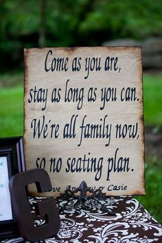 Rustic Wedding Reception Seating Sign, 2014 beach wedding quote www.loveitsomuch.com