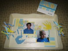 Altered tray with pictures and handprints - great idea for Mother's Day via my scraps