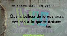 Que la belleza de lo que amas sea eso a lo que te dedicas - Rumi