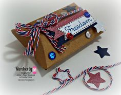 DT Kimberly @Twine It Up! with Trendy Twine decorated a Small Kraft Pillow Box with Stars & Stripes Trendy Twine and  Blue Sequins.