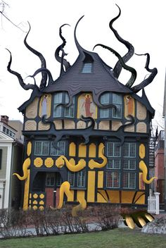 In case you're wondering: the tentacles are shopped, the actual (sans tentacles) building is the Fleur-de-Lys Studios in Providence, Rhode Island. Lovecraft used the house as the home for a character in The Call of Cthulhu. Unusual Buildings, Interesting Buildings, Amazing Buildings, Architecture Unique, Interior Architecture, Pavilion Architecture, Classical Architecture, Sustainable Architecture, Residential Architecture