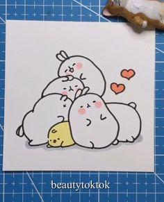 Easy Doodles Drawings, Easy Cartoon Drawings, Cute Easy Drawings, Cute Little Drawings, Art Drawings For Kids, Cute Kawaii Drawings, Art Drawings Sketches Simple, Cute Animal Drawings, Emoji Drawings