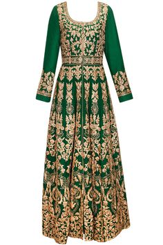 Fir green heavily embroidered anarkali set available only at Pernia's Pop-Up Shop.