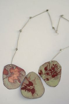 Plant Enamel Necklace - OOAK - Three piece - Handmade chain