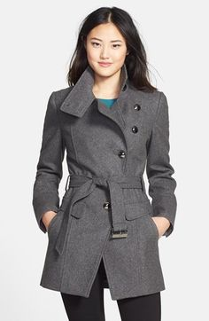 Kenneth Cole New York Belted Wool Blend Asymmetrical Military Coat