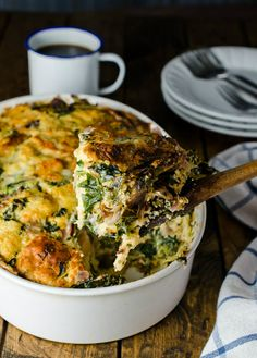 This cheesy casserole is packed with gruyére, white cheddar and kale.