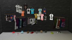 """leo-sims: """" CLOTHING DECOS Here are more deco clothing items as requested. Total 9 different meshes • 3 hanging shirt meshes and recolors • Shirt Rack • Dress Rack • 4 different set of shoes CREDITS Cassandre, @riekus13 , Mensure DOWNLOAD """""""