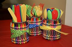These crayon utensil holders are such a great idea for an art party rainbow party back-to-school or just to make your kids craft area cute! Theyre made using empty soup cans (upcycle alert!) and a large box of crayons. You could put utensils in them . Elmo Birthday, Rainbow Birthday, First Birthday Parties, Birthday Party Themes, First Birthdays, Birthday Ideas, Rainbow Theme, Sesame Street Birthday Party Ideas, Seasame Street Party