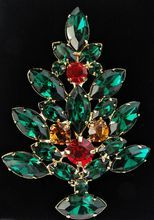 Large Vintage Rhinestone Christmas Tree Brooch 2 1/2 Inches