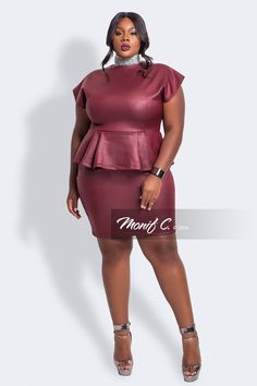 Lina Faux Leather Peplum Dress... Wine//MonifC