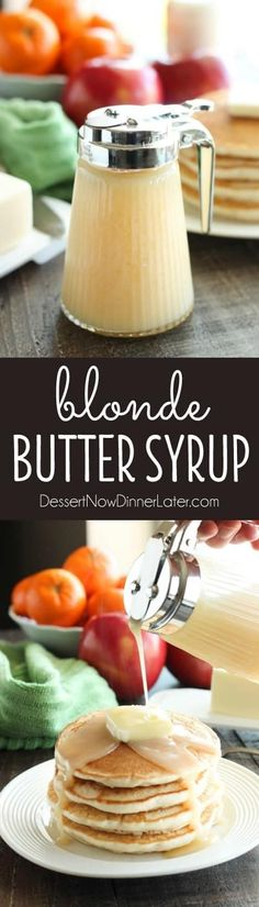 PP: Forget maple syrup! Blonde Butter Syrup is the BEST homemade syrup you will ever try! It's creamy, rich, buttery, and with only 3 ingredients, you can whip it up in no time! Perfect for lazy weekends and Christmas breakfast too! Brunch Recipes, Breakfast Recipes, Drink Recipes, Best Maple Syrup, Breakfast Desayunos, Breakfast Casserole, Breakfast Ideas, Salsa Dulce, Homemade Syrup