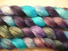 50/50 Merino Silk  Handpainted Roving  Spinning or by SunsetFibers, $30.00