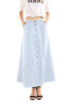 0814e5c25 JOAUR Women's Slit Casual Skirts Button Front High Waist Maxi Skirt with  Pockets Pear Shaped Women