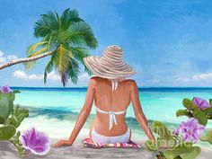 Woman Painting - Woman Sandy Beach by Tim Gilliland Beach Scene Images, Beach Scenes, Art Plage, Woman On Beach, Beach Drawing, Beach Pink, 2017 Image, Beach Illustration, War Photography