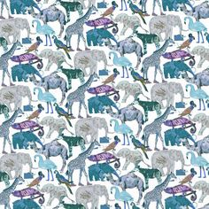 Liberty Fabric Tana Lawn – Queue for the Zoo G Blue