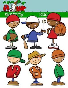 Kids - Clip art / Graphic  Included are 6 Color, 6 BW, 6 Black Lined  18 Items Total.     $