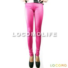 Women High Rise Matte Glossy PU Leather Legging Hot Pink