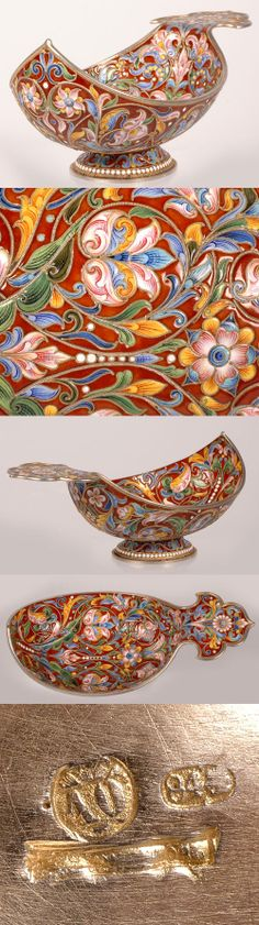 A Russian silver gilt and shaded cloisonne enamel kovsh, by ovchinnikov, Moscow, Late 29th century. Of traditional form with raised prow, shaped flat handle and circular base. Completely decorated with painted polychrome scrolling flower-head designs against a vibrant red enamel ground