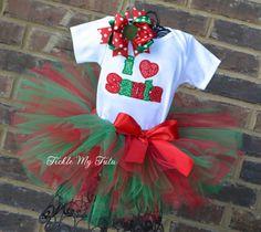 I Love Santa Christmas Tutu Outfit, Christmas Pageant Outfit, My First Christmas Outfit on Etsy, $54.95