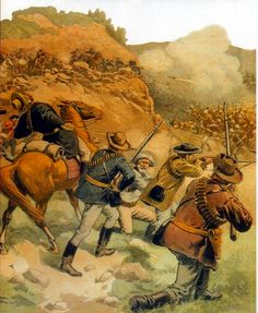 Boer soldiers defending a hilltop position from British infantry assault