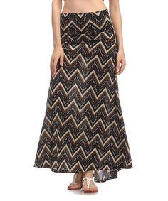 Loving this Taupe & Brown Chevron Maxi Skirt on #zulily! #zulilyfinds