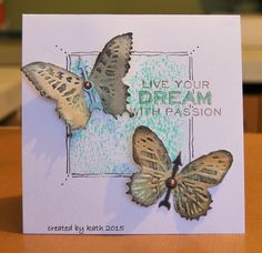 Kath's Blog......diary of the everyday life of a crafter: with a butterfly card using Tim Holtz, Ranger, Sizzix and Stamper's Anonymous products; Feb 2015