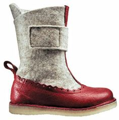 Perfect boots! Grey felt x red (faux?) leather