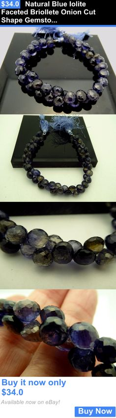 Women Jewelry: Natural Blue Iolite Faceted Briollete Onion Cut Shape Gemstone Bead 8 Strand BUY IT NOW ONLY: $34.0