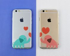 Elephant Best Friends Love Heart Clear Case for iPhone and Galaxy