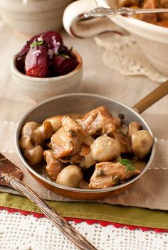 Old-Fashioned Veal Fricassee or Veal Stew with Mushrooms