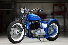 """""""Top Fuel II"""" Harley Davidson Custom By DP Customs. And I do love those white spoke wheels with the vibrant blue"""