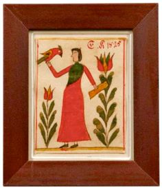 "Skinner's - Ellie Hoover Collection.  August 9, 2015 Lot 1058.   Estimate $2,000-2,500.   Realized: $11,685.        Description:    Framed Watercolor, Pennsylvania, probably Bucks County, c. 1825, depicting a woman in a red dress holding a parrot, flanked by large tulips, signed ""E.K. 1825.,"" image 4 x 3 1/4, in a red-painted frame 6 1/4 x 5 1/2 in. overall.   Provenance: David Wheatcroft."