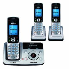 VTech DS6321-3 DECT 6.0 Cordless Phone, Silver/Black, 3 Handsets by VTech. $74.99. From the Manufacturer                     Intercom, call-transfer & conference capabilities. View larger.       Digital answering system and Connect to Cell technology. View larger.      Three Handset DECT 6.0 Expandable Cordless Phone with Connect to Cell, Answering System & Handset Speakerphone A stylish addition to any busy home, the VTech DS6321-3 cordless phone comes with three han...