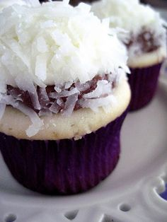 Chocolate Coconut Cupcakes. I think i would put some chocolate buttercream inside the cupcake:)